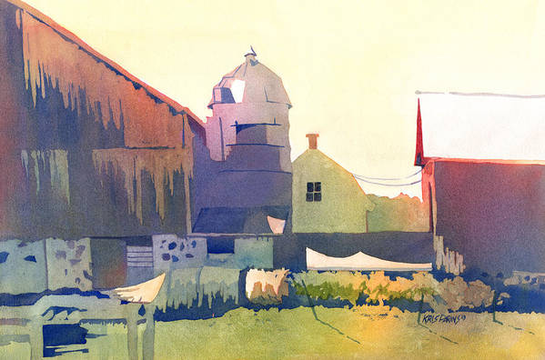Kris Parins Art Print featuring the painting The Side Of A Barn by Kris Parins
