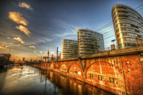 Ancient Print featuring the digital art Three Towers Berlin by Nathan Wright