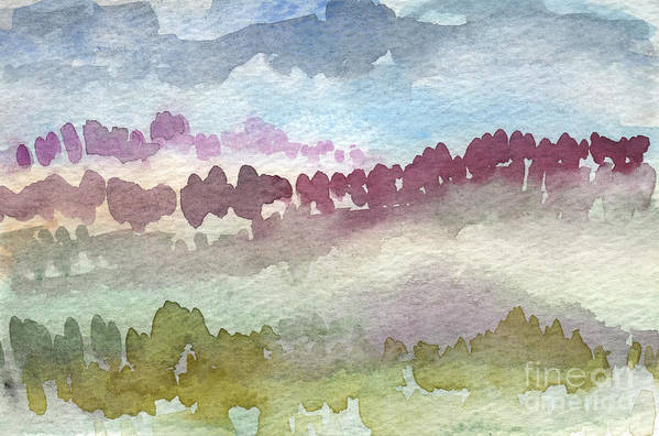 Abstract Landscape Art Print featuring the painting Through The Trees by Linda Woods