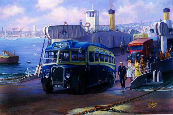 Bus Art Print featuring the painting Torpoint Ferry. by Mike Jeffries