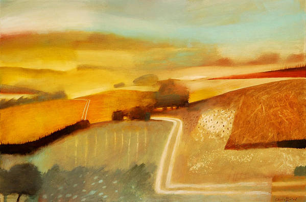 Country; Rural; Road; Lane; Field; Fields; Hedge; Hedges; Summer; Sun; Atmospheric; Environmental Art Print featuring the painting Track by Charlie Baird