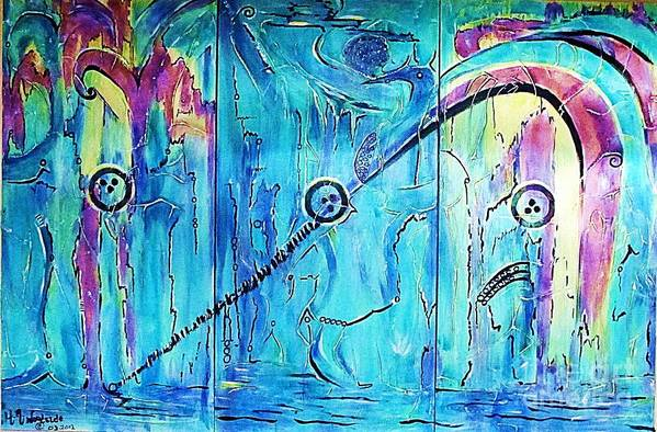 Abstract Art Print featuring the mixed media Transcendence Spirit Movement by Hilton Woodside