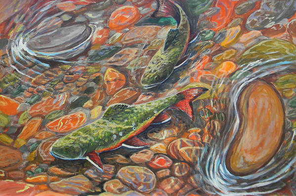Trout Art Print featuring the painting Trout Stream by Jenn Cunningham