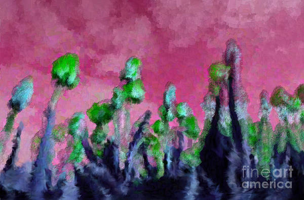 Flowers Art Print featuring the digital art Tulips Abound Pink Green by Holley Jacobs