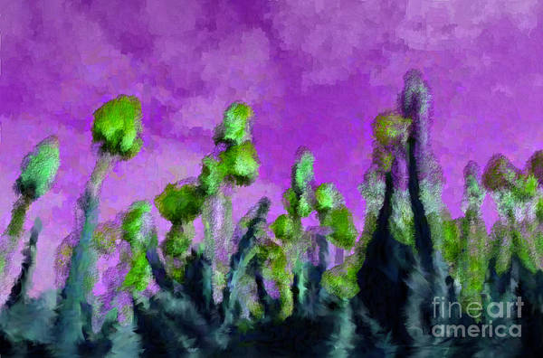 Flowers Art Print featuring the digital art Tulips Abound Purple Teal by Holley Jacobs