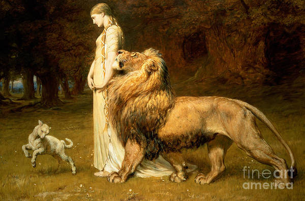 Lamb Print featuring the painting Una And Lion From Spensers Faerie Queene by Briton Riviere