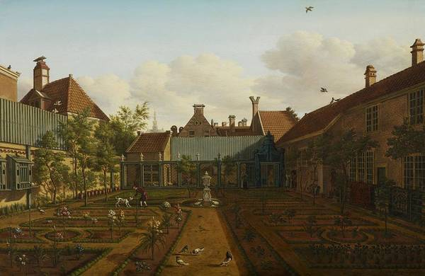 Garden Print featuring the painting View Of A Town House Garden In The Hague by Paulus Constantin La Fargue