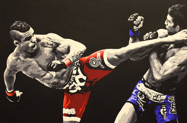 Vitor Belfort Art Print featuring the painting Vitor Belfort Kick by Geo Thomson