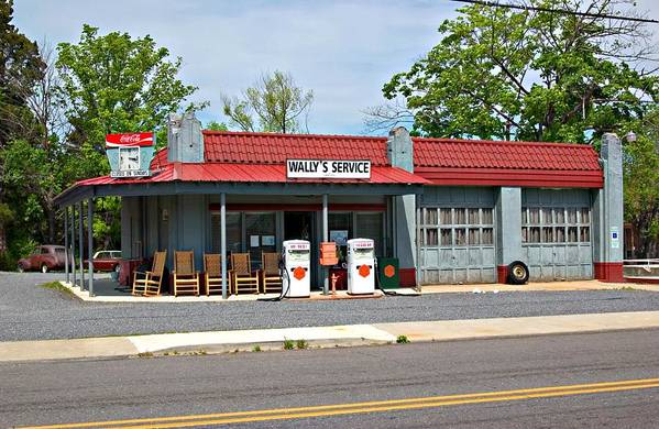 Wallys Service Station Art Print featuring the photograph Wallys Service Station Mt. Airy Nc by Bob Pardue