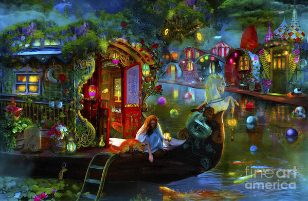 Fantasy Art Print featuring the digital art Wanderer's Cove by MGL Meiklejohn Graphics Licensing