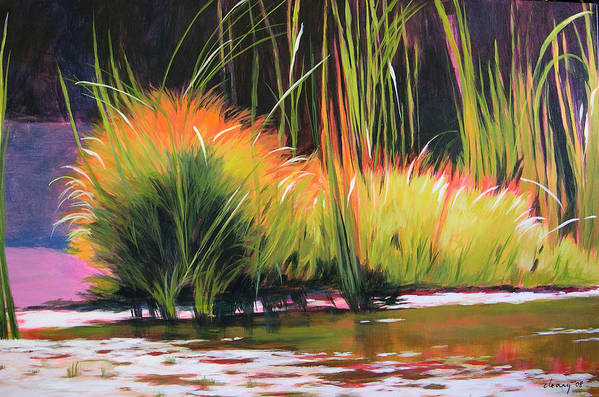 Landscape Art Print featuring the painting Water Garden Landscape 3 by Melody Cleary