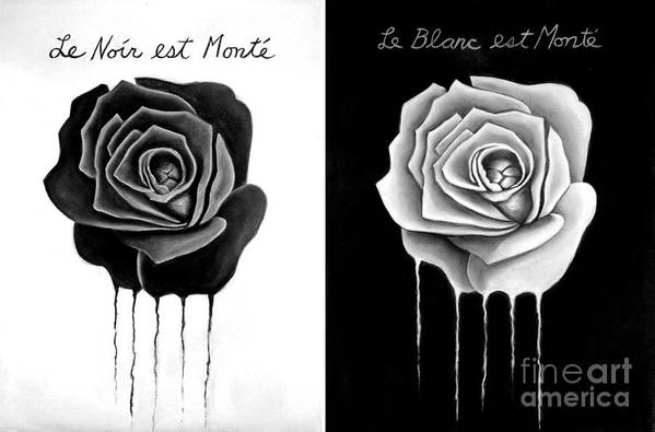 Black Rose Art Print featuring the drawing Weeping Black And White Roses by Darrell Ross