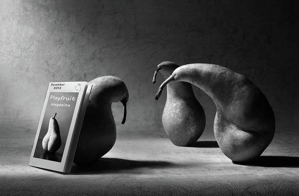Pear Art Print featuring the photograph What Are You Reading, Son?! by Artistname