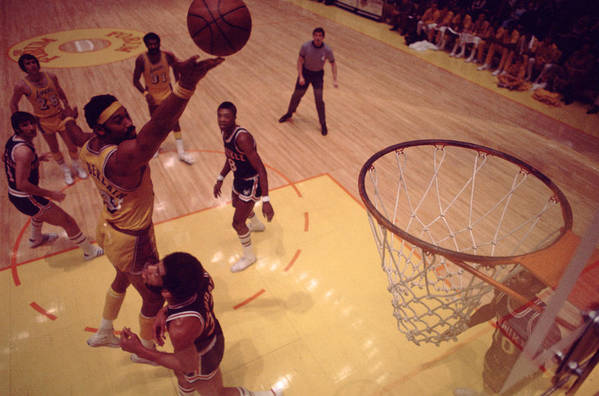 Marvin Newman Art Print featuring the photograph Wilt Chamberlain Finger Roll by Retro Images Archive
