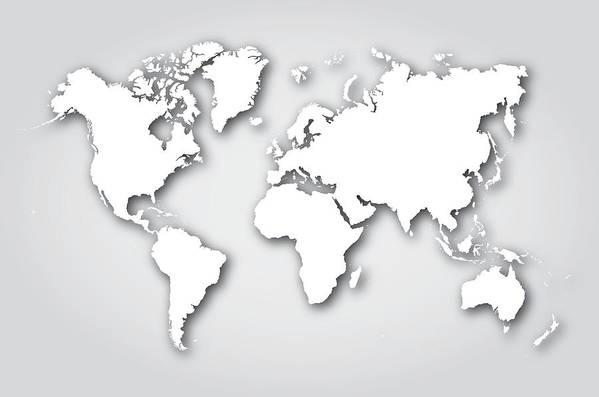 World Map Silhouette White Art Print