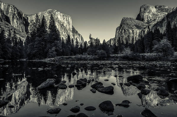 Ansel Adams Art Print featuring the photograph Yosemite National Park Valley View Reflection by Scott McGuire