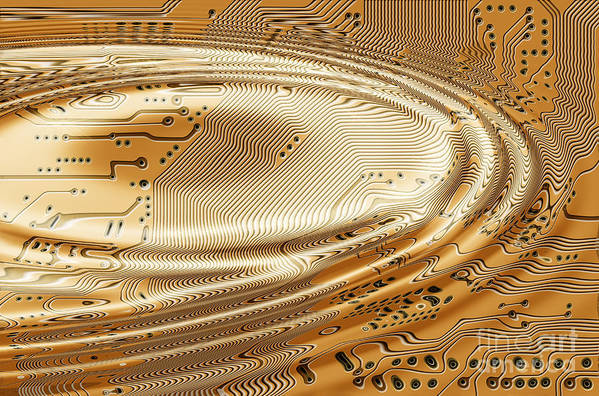 Printed Art Print featuring the digital art Printed Circuit by Michal Boubin