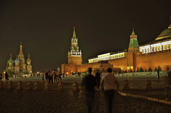Kremlin Art Print featuring the photograph Red Square In Moscow At Night by Michael Goyberg