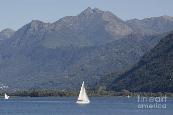 Sailing Boat Art Print featuring the photograph Sailing Boat And Mountain by Mats Silvan