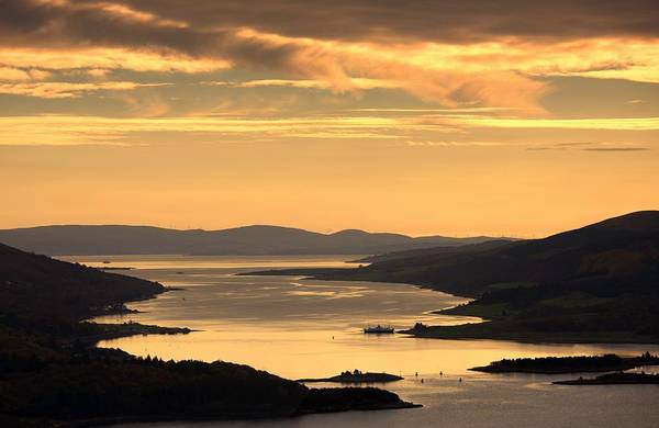 Attractions Art Print featuring the photograph Sunset Over Water, Argyll And Bute by John Short