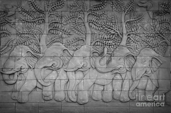 Ancient; Antique; Antiquity; Animal; Art; Asia; Asian; Artistic; Buddhism; Buddhist; Building; Background; Bas-relief; Cement; Carved; Classic; Classical; Craftsmanship; Craft; Culture; Detail; Decor; Decorate; Decoration; Decorative; Design; East; Elephant; Handmade; Legend; Mold; Molding; Myth; Mythology; Native; Oriental; Old; Philosophy; Relief; Religion; Sculpture; Statue; Stone; Style; Temple; Thai; Thailand; Tradition; Traditional; Wall Art Print featuring the relief Thai Style Handcraft Of Elephant by Phalakon Jaisangat