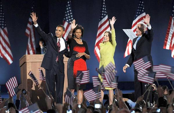 Barack Obama U.s. Presidential Election Victory Speech And Celebration Print featuring the photograph U.s. President Elect Senator Barack by Everett
