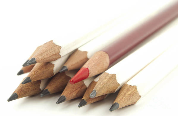 Pencil Art Print featuring the photograph White And Red Pencils by Blink Images