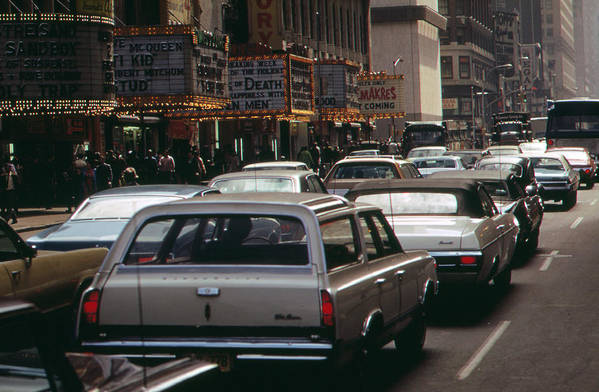 1970s Candids Art Print featuring the photograph 1970s America. 42nd Street Between 7th by Everett