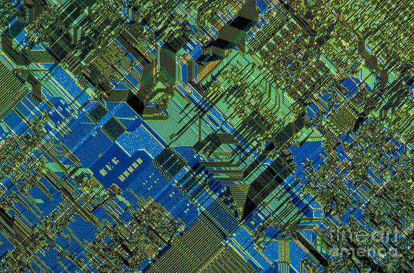 Integrated Circuit Art Print featuring the photograph Microprocessor by Michael W. Davidson