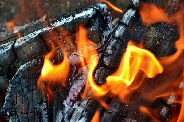 Hot; Wood; Fire; Summer; Barbecue; Red; Orange; Steak; Hamburger; Garden; Food; Family; Friends; Warm; Winter; Cosy; Decorative; Background; Braai; Flame; Art Print featuring the photograph Wood Fire by Werner Lehmann