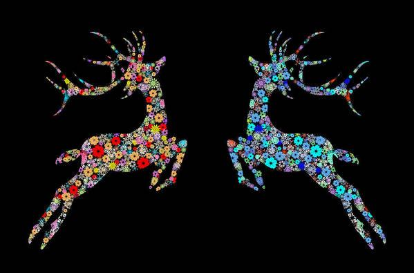 Animal Art Print featuring the painting Reindeer Design By Snowflakes by Setsiri Silapasuwanchai
