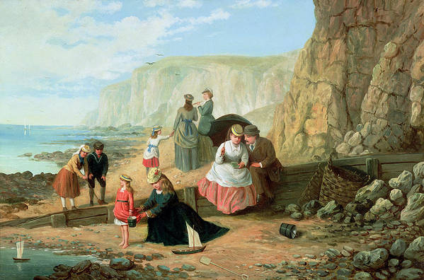 Cliff; Seashore; Cliffs; Summer; Holiday; Family; Lovers; Couple; Children; Spade; Toy; Boat; Sea; Sailor; Suit; Strolling; Pastime; Bucket; Playing; Digging; Telescope; Book; Parasol; Umbrella; Sunshade; Basket; Rocks; Sand Art Print featuring the painting A Day At The Seaside by William Scott