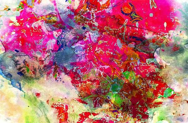 Abstract Multi Floral Art Print featuring the digital art Abstract Multi Floral by Carrie OBrien Sibley