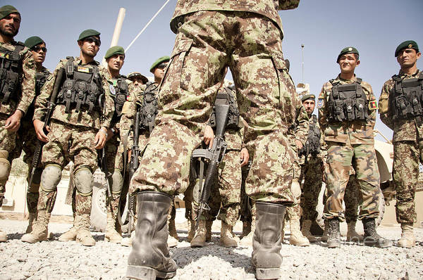 Afghan National Army Art Print featuring the photograph Afghan Air Force Members Get Briefed by Stocktrek Images