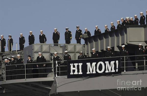 Horizontal Art Print featuring the photograph Ailors And Marines Man The Rails Aboard by Stocktrek Images