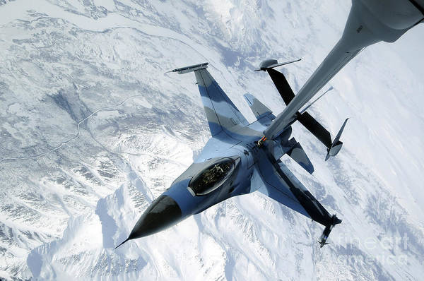 F-16 Print featuring the photograph An F-16 Aggressor Sits In Contact by Stocktrek Images
