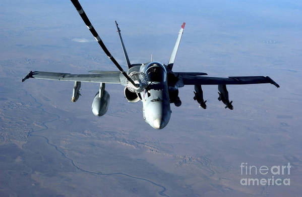 Color Image Art Print featuring the photograph An Fa-18c Hornet Receives Fuel by Stocktrek Images