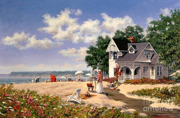Beach Art Print featuring the painting Beach Days by Michael Swanson