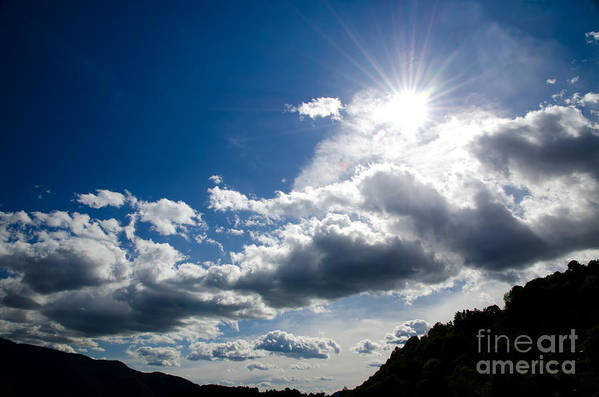 Blue Art Print featuring the photograph Blue Sky With Clouds by Mats Silvan