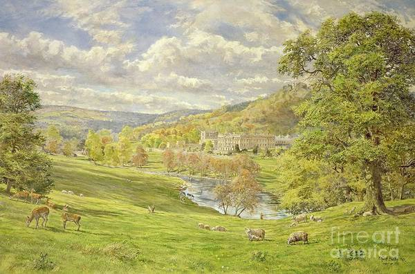 Landscape; Deer; Park; Sheep; Pastoral; Stately Home; Duke Of Devonshire; Devonshire; Chatsworth; Tree; Trees; Hill; Hills; Water; Green; Grass; Tranquil; Serene Animals; Grazing Art Print featuring the painting Chatsworth by Tim Scott Bolton