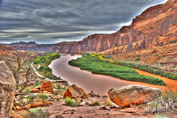 Hdr Art Print featuring the photograph Colorado River Flows Through A Stormy Moab Portal by Gary Whitton