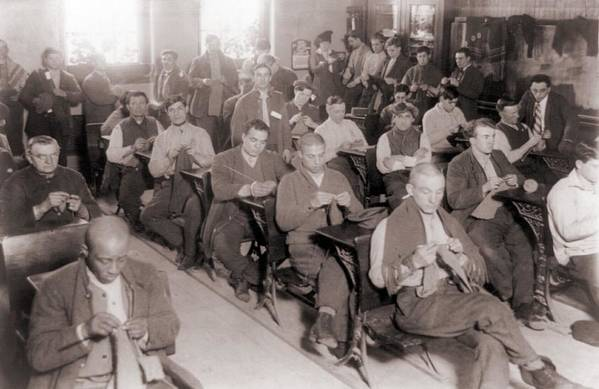 History Art Print featuring the photograph Convicts Knitting In One by Everett