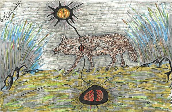Native American Spirit Drawing Print Art Print featuring the drawing Coyote Spirituality by Carolyn L Schaefer