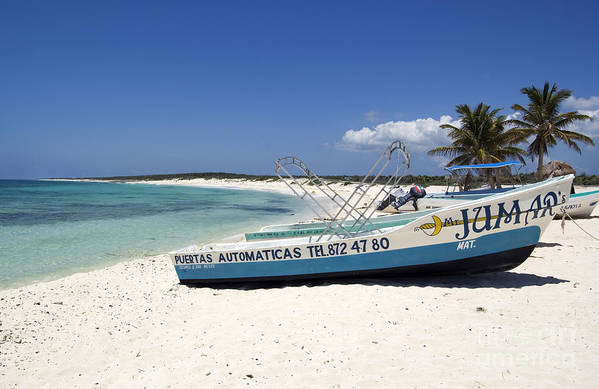 Travelpixpro Cozumel Art Print featuring the photograph Cozumel Mexico Fishing Boats On White Sand Beach by Shawn O'Brien