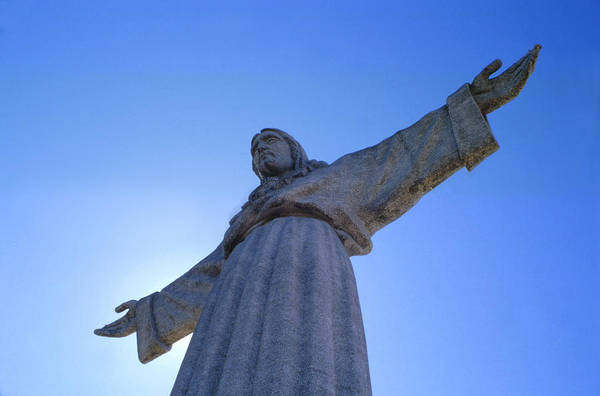 Catholic Monument Of Jesus Christ Inspired By The Christ The Redeemer Statue In Rio De Janeiro Art Print featuring the sculpture Cristo Rei by Anonymous