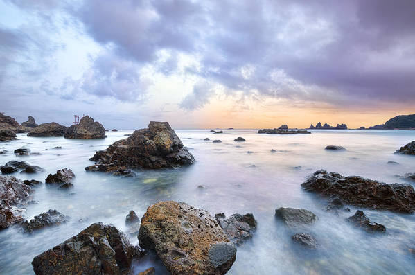 Horizontal Art Print featuring the photograph Dusk At Oze Rocky Shore by Tommy Tsutsui