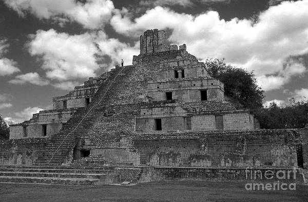 Mexico Art Print featuring the photograph Edzna Pyramid Climber Campeche Mexico by John Mitchell