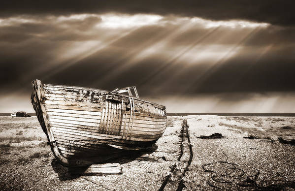 Boat Art Print featuring the photograph Fishing Boat Graveyard 9 by Meirion Matthias
