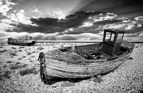 Boat Art Print featuring the photograph Fishing Boat Graveyard by Meirion Matthias