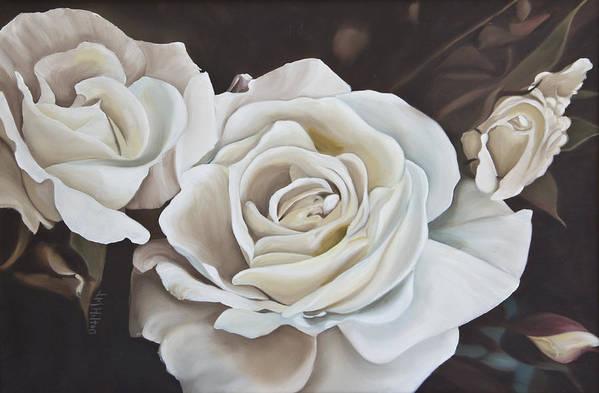Gardenias Art Print featuring the painting Gardenias by Judy Hilton